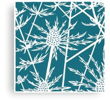 Sea hollies on a teal background Canvas Print