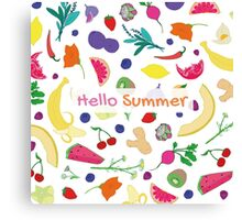 Hello Summer Fruits Canvas Print