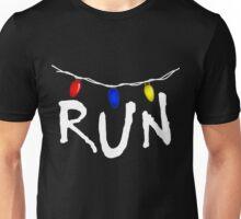 Stranger Things - RUN - christmas lights demogorgon Unisex T-Shirt
