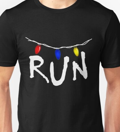 Stranger Things - RUN - christmas lights demogorgon Unisex T-Shirt