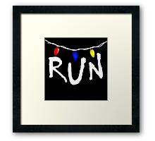 Stranger Things - RUN - christmas lights demogorgon Framed Print