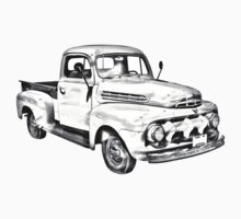 1951 ford F-1 Pickup Truck Illustration Kids Clothes