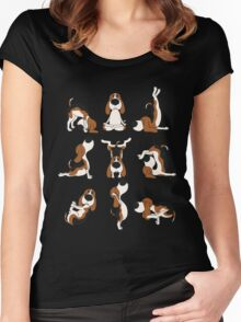 Funny Dogs Yoga Positions Hatha T-Shirt Women's Fitted Scoop T-Shirt