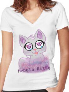 Nebula Kitty Women's Fitted V-Neck T-Shirt