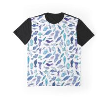 Birds and Fishes Whimsical Pattern Graphic T-Shirt