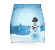 Christmas Snowman Scene Mini Skirt