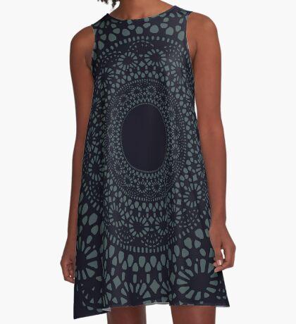 Black Doily A-Line Dress
