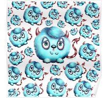 Monster in Blue #2 - Little Fluffy Devil Poster