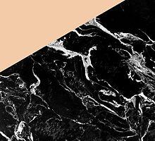 Modern elegant peach black marble color block by GirlyTrend