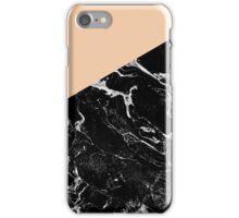 Modern elegant peach black marble color block iPhone Case/Skin