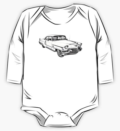 1956 Sedan Deville Cadillac Car Illustration One Piece - Long Sleeve