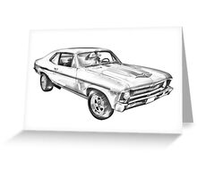 1969 Chevrolet Nova Yenko 427 Muscle Car Illustration Greeting Card