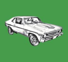 1969 Chevrolet Nova Yenko 427 Muscle Car Illustration Kids Tee