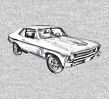 1969 Chevrolet Nova Yenko 427 Muscle Car Illustration Kids Clothes