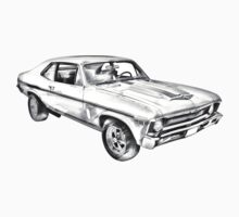 1969 Chevrolet Nova Yenko 427 Muscle Car Illustration Kids Clothes