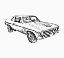 1969 Chevrolet Nova Yenko 427 Muscle Car Illustration Kids Tee