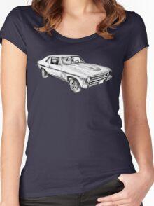 1969 Chevrolet Nova Yenko 427 Muscle Car Illustration Women's Fitted Scoop T-Shirt