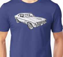 1969 Chevrolet Nova Yenko 427 Muscle Car Illustration Unisex T-Shirt