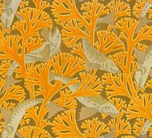 Vintage Art Deco Fish and Yellow Coral by BravuraMedia