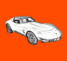 1975 Corvette Stingray Muscle Car Illustration Kids Clothes
