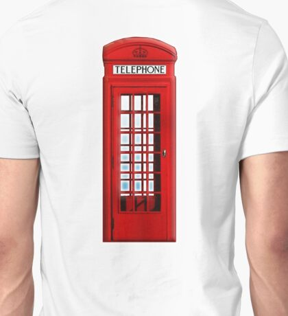 TELEPHONE BOX, Red, phone, Kiosk, London, England, British, UK Unisex T-Shirt
