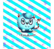 Little Blue Monster - Stripes Photographic Print
