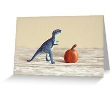Mr. Dinosaur With Pumpkin  Greeting Card