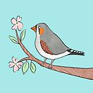 Happy Zebra Finch in a Blossom Tree by zoel