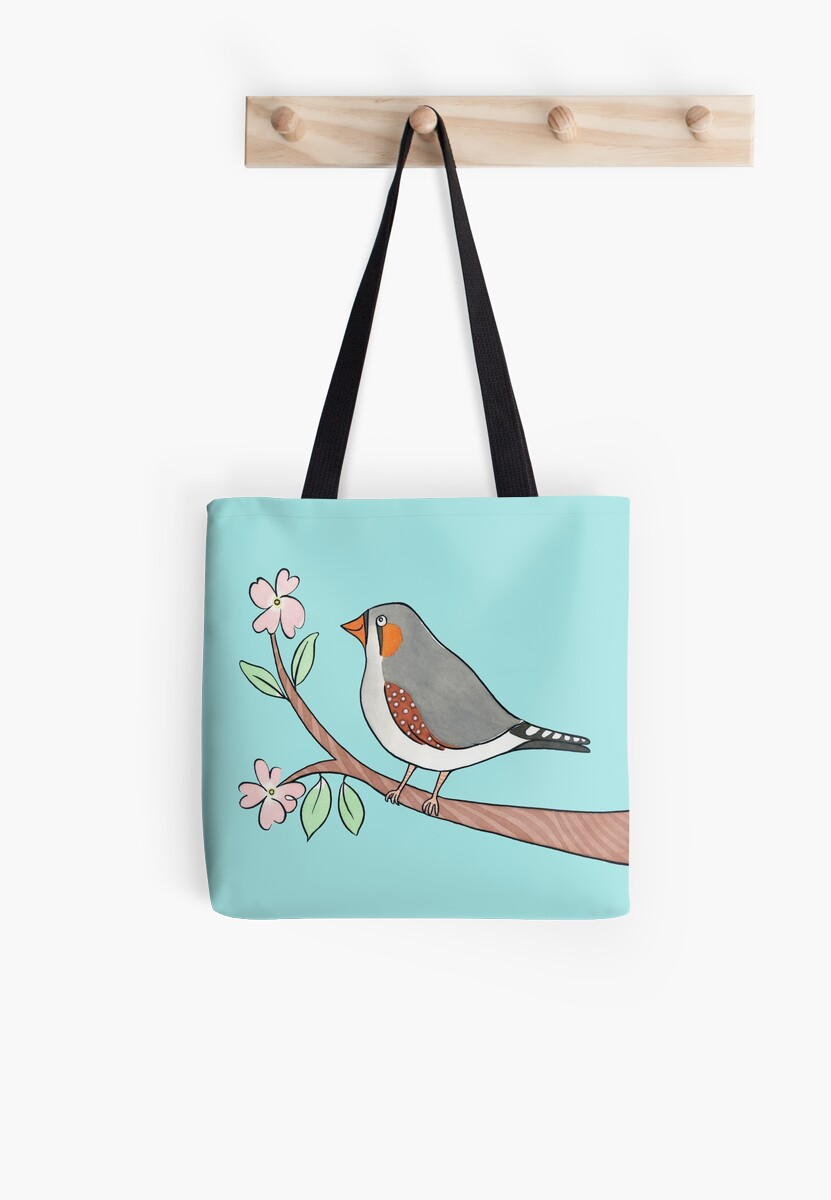 Happy Zebra Finch in a Blossom Tree by zoel