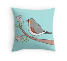 Happy Zebra Finch in a Blossom Tree Throw Pillow