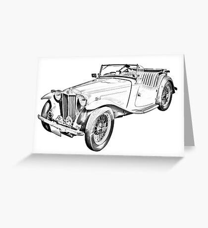 MG Convertible Antique Car Illustration Greeting Card