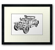 De Dion Bouton Antique Car Illustration Framed Print