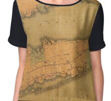 Map of Long Island 1888 Chiffon Top