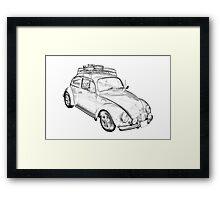 Volkswagen beetle Punch Buggy Illustration Framed Print