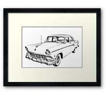 1956 Ford Custom Line Antique Car Illustration Framed Print