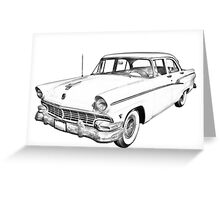 1956 Ford Custom Line Antique Car Illustration Greeting Card
