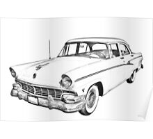 1956 Ford Custom Line Antique Car Illustration Poster