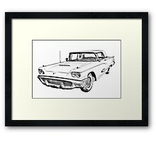 1958  Ford Thunderbird Car Illustration Framed Print