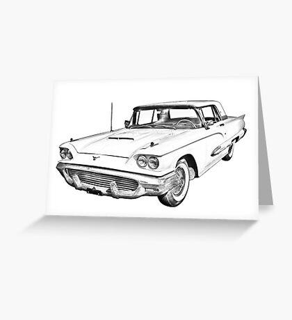 1958  Ford Thunderbird Car Illustration Greeting Card