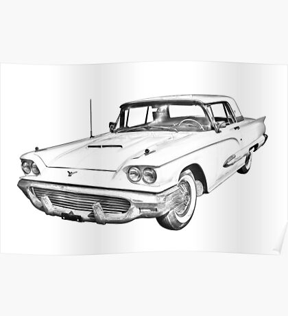 1958  Ford Thunderbird Car Illustration Poster
