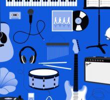 Dark Blue Music Things Sticker