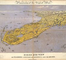 Vintage Pictorial Map of Florida (1861) by BravuraMedia