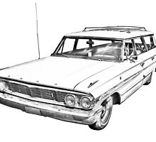 1964 Ford Galaxy Country Station Wagon Illustration by KWJphotoart