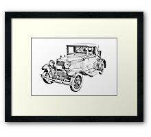 Model A Ford Roadster Antique Car Illustration Framed Print