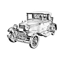 Model A Ford Roadster Antique Car Illustration Photographic Print