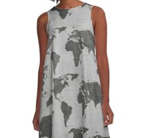 vintage world map camouflage pattern A-Line Dress