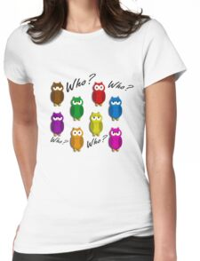 Cute owls - Who? Womens Fitted T-Shirt