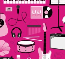 Hot Pink Music Things Sticker