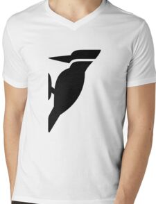 Woodpecker Bird Silhouette Mens V-Neck T-Shirt