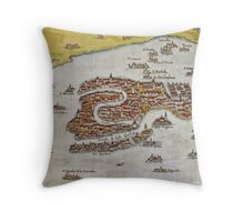 Vintage Map of Venice (1649)  Throw Pillow